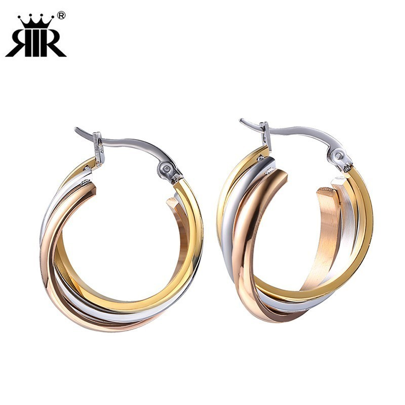 RIR New Trendy Stainless Steel Trinity Earrings Stud Hoop Earring Three Layers Colors Engagement Ear Piercing Jewelry For Women