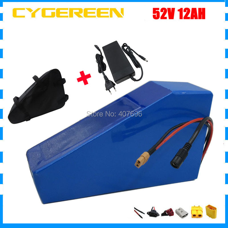 52V Lithium battery 51.8V 12AH battery pack 52V 12AH 12.5AH Triangle ebike battery use 2500mah cell 15A BMS with triangle bag