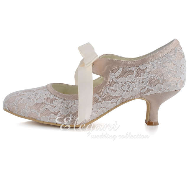 placeholder Woman Wedding Shoes A3039-2 Closed Toe Low Heel Mary Jane  Ribbon Tie Lace Bride 357c0b68ee83