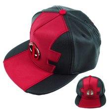 1291ac2e8 Superhero Deadpool Metal logo Hat Adjustable PU Baseball Snapback Caps Hip  Hop Hats For Adult Men