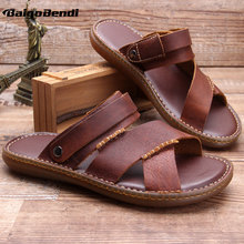 Summer Must Have Men Slides Shoes Cow Leather Outdoor Casual Slippers Business Man Beach Wear In Two Ways