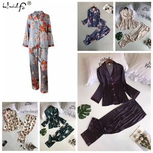 Image 5 - Polka Dot baskı Pijama seti 2019 bahar Pijama ipek uzun kollu Pijama setleri kadınlar için pantolon ile saten baskı ev giyim Feminino