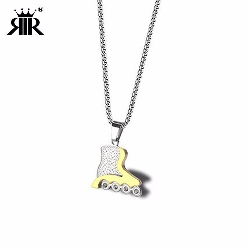 RIR Fashion Stainless Steel Inner Line Inline Skates Pendant Necklace Roller Skating Necklace Skater Jewellery Gift