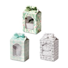 12 PCS Gift Box Packaging Window Wedding Ribbon Paper Bag Baby Underwear Jam Small Toy Honey Handmade Candy Boxes