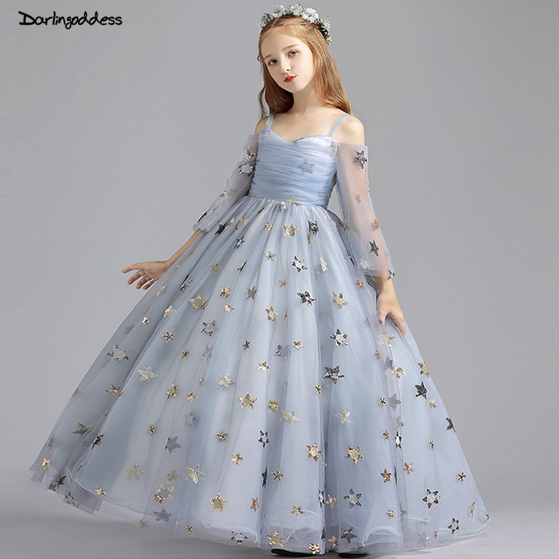 2019 New Princess   Flower     Girl     Dresses   for Weddings Ball Gown Long Sleeve Pageant   Dress   for   Girls   Kids First Communion   Dresses