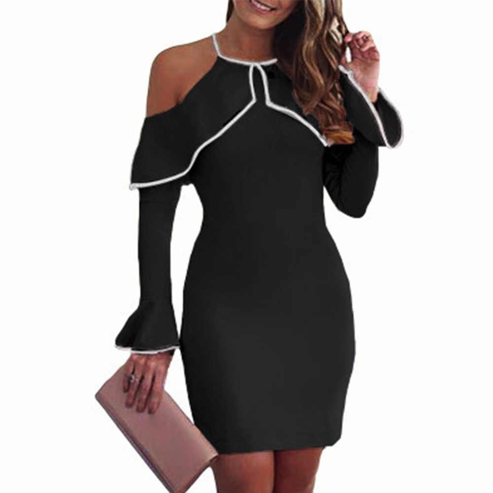 Элегантные женские с открытыми плечами Bodycon вечернее длинное Ruffles Sleeve o-образным вырезом летние белые черные розовые короткое Сменное платье
