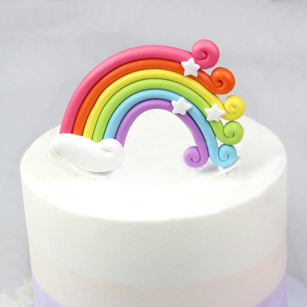 Detail Feedback Questions About 3D Rainbow Cake Topper Cupcake Pick Wedding Birthday Party Favor Dessert Design Babyshower Decoration