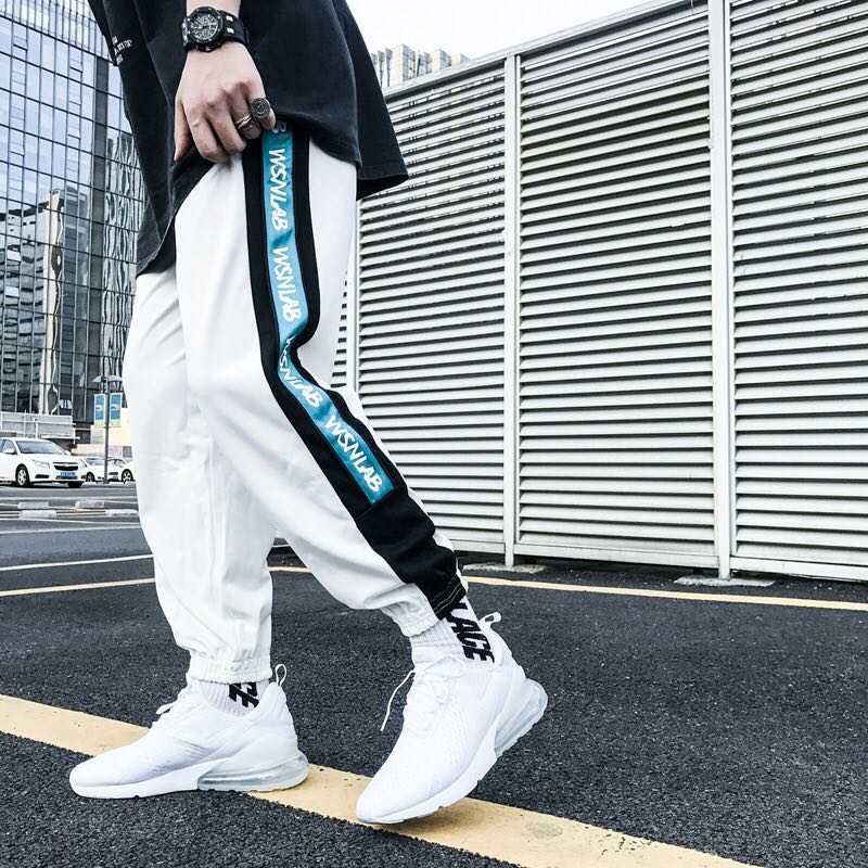 Black and white side letters wild casual sports pants 2018 autumn movis Men Women workout fitness clothing Joggers Track Pants