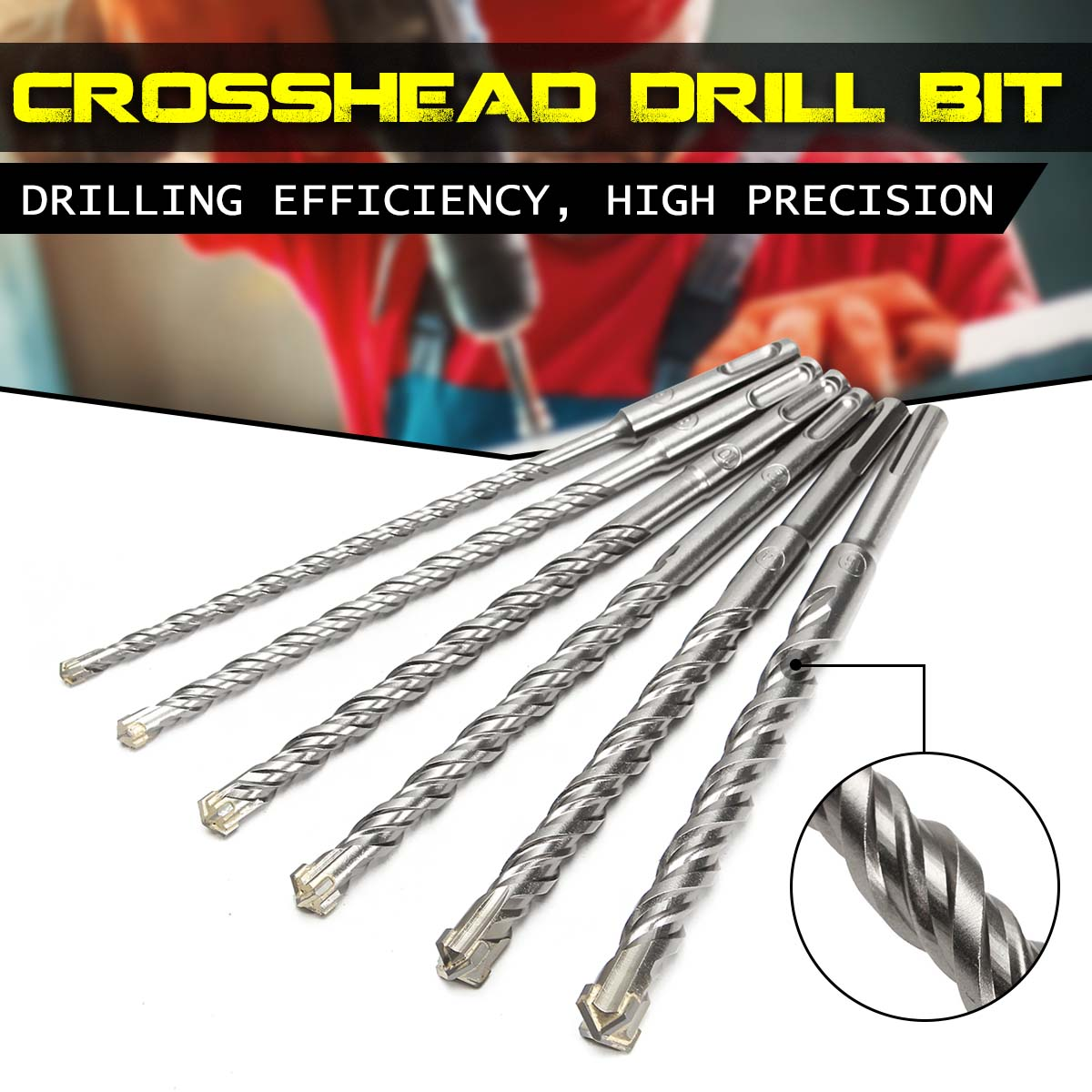Concrete Tungsten Carbide Tip 210mm SDS Plus Crosshead Drill Bits Carbide Twin Spiral Drilling Efficiency High Precision Durable