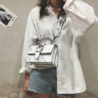 Женская сумка на плечо из лакированной кожи с мраморной цепочкой, модная женская сумка через плечо, женская сумка