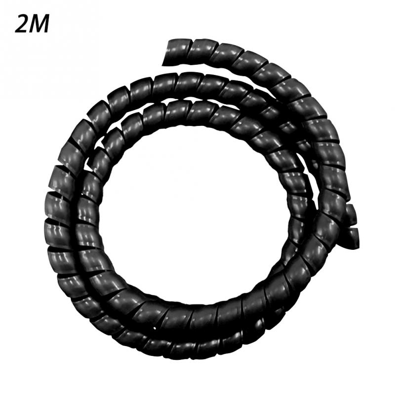 6mm Outside Dia 17M PE Polyethylene Spiral Cable Wire Wrap Tube Black GS