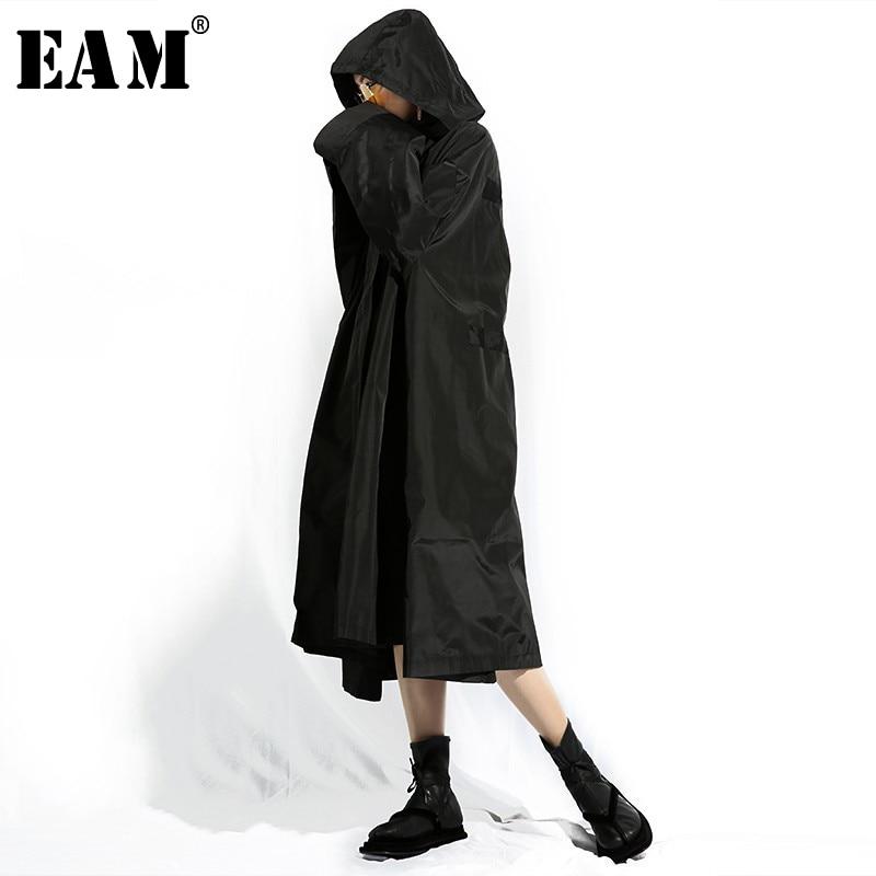 [EAM] 2019 New Spring Summer Hooded Long Sleeve Black Loose Zipper Oversize Long Windbreaker Women   Trench   Fashion Tide TA402