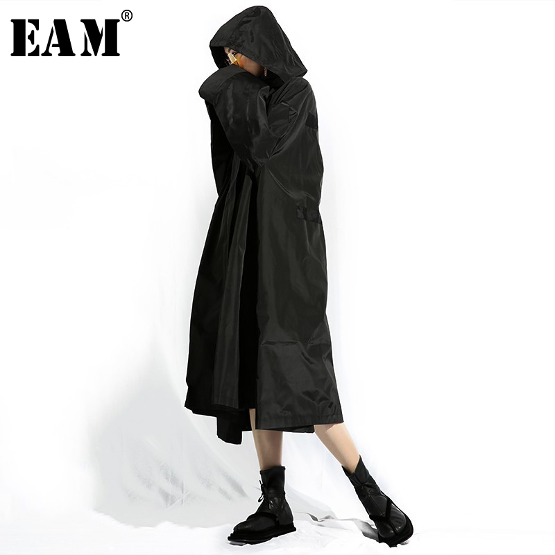 [EAM] 2019 nouveau printemps été à capuche à manches longues noir lâche fermeture éclair surdimensionné Long coupe-vent femmes Trench mode marée TA402
