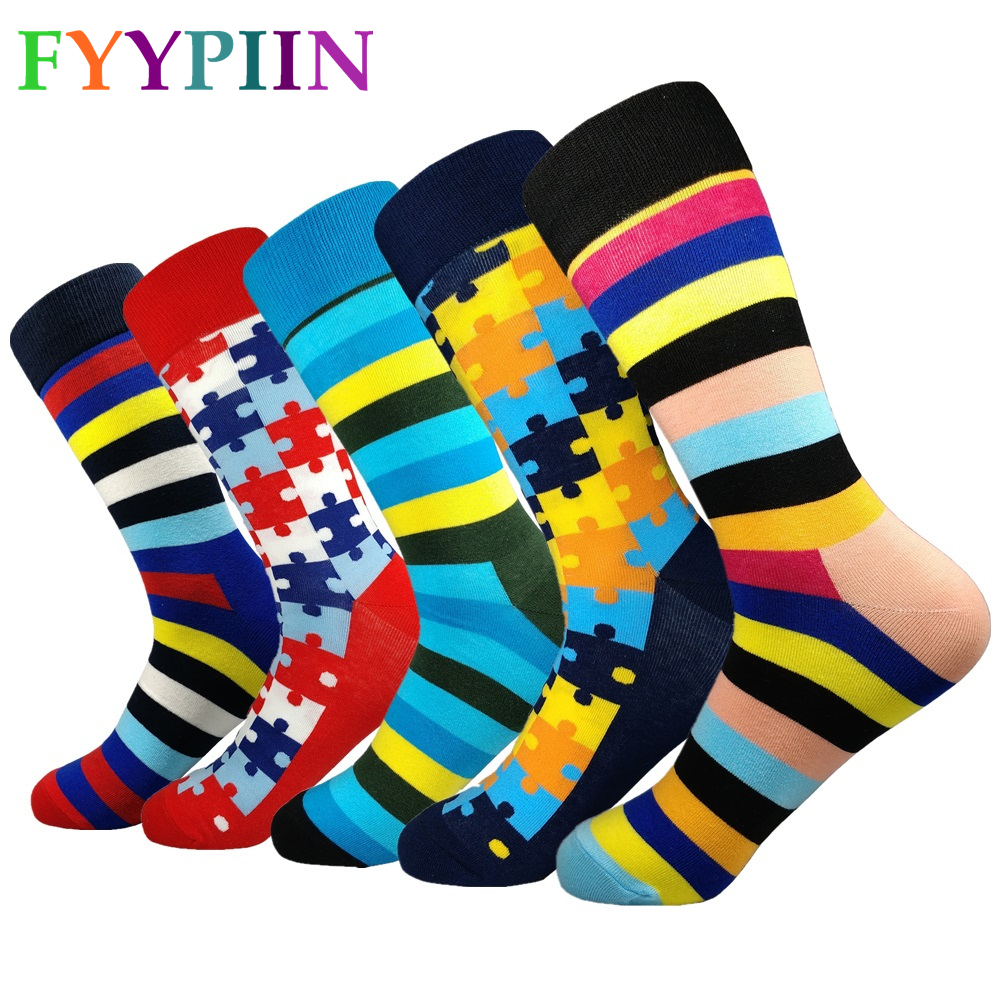 Calcetines Hombre 2019 5 Pair/lot Filled Optic Dot Striped Luxury Cool Pattern Men Socks Combed Cotton Funny Style Wedding Gift