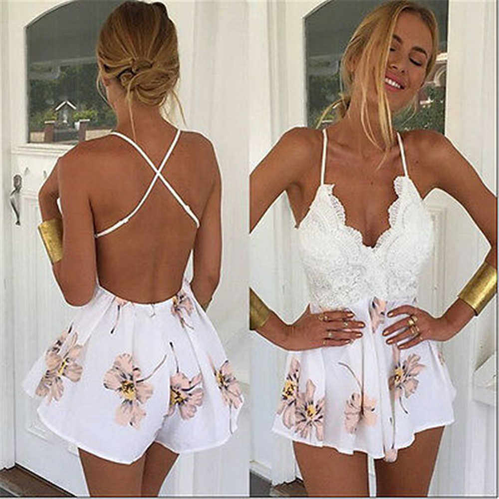 Mujer sexy cuello en V profundo tiras Boho Playsuit encaje Patchwork Floral Bodysuit mameluco señora sexy Clubwear verano ropa de playa