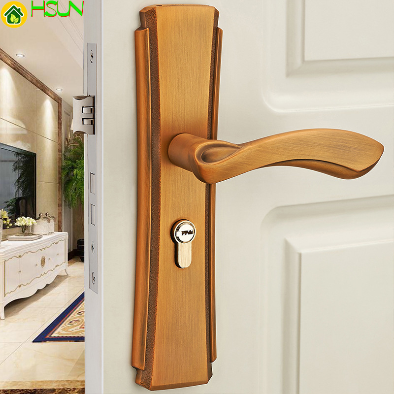 Indoor solid wood door locks bedroom mechanical antique handle bronze door locksIndoor solid wood door locks bedroom mechanical antique handle bronze door locks