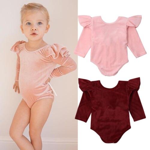 57ec35803a07 Newborn Baby Girls Velvet Long Sleeve Bowknot Romper Jumpsuit Outfits  Clothes Set