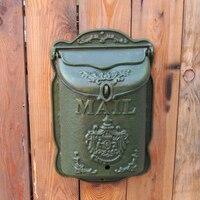 農村スタイル鋳鉄メールボックス壁マウント金属メールボックス新聞文字のポストボックス庭の装飾アパート郵便受け HW008