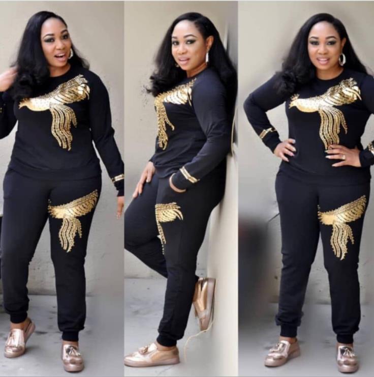 África mujeres invierno hecho a mano rebordear con lentejuelas patrón de manga larga de punto jersey remeras pantalones 2 uds conjuntos de ropa