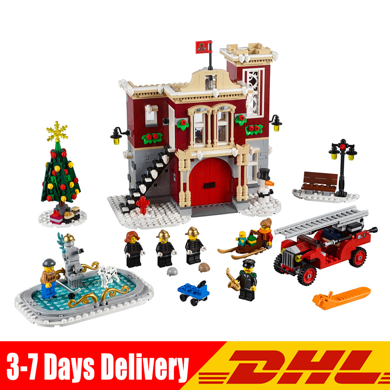 In Stock Compatible LegoINGlys 10263 Creator Winter Village Fire Station Model Bricks Blocks Toys for children christmas Gifts цена