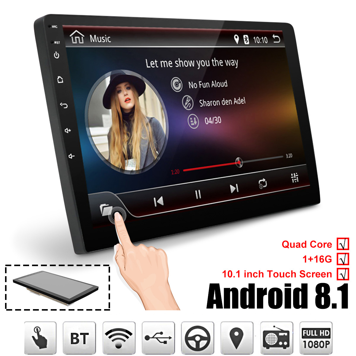 Car Multimedia Player 10 1 Android 8 1 Car Stereo 2DIN bluetooth WIFI GPS Nav Quad