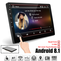Car Multimedia Player 10.1'' Android 8.1 Car Stereo 2DIN Bluetooth WIFI GPS Nav Quad Core Radio Video MP5 Player
