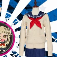 My Hero Academia Cosplay Costume Boku No Hero Academia Himiko Toga Women Sailor JK Uniform Mini Pleated Skirt Suit Cardigans Set