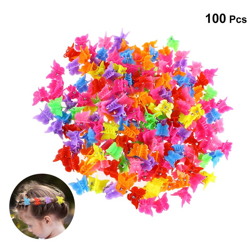 100pcs Cute Butterfly Clips Hair Clips For Kids Girls Mini Jaw Clip Claw Hairpin Hair Accessories For Women Girls(Mixed Color)