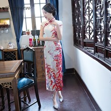 New Summer Long Cheongsam Dress Vintage Qipao China Silk Dresses Chinese Traditional Qi Pao Vestido Robe Oriental Style Gown