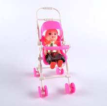 Assembly Mini Simulation Pram for Doll Accessories Infant Baby Carriage Stroller Detachable Babe Doll Trolley Nursery Toy