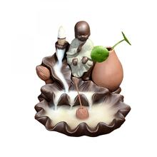 Small Buddha Ceramic Backflow Incense Burner The Little Monk Smoke Waterfall Holder Lotus Flower Crafts Censer