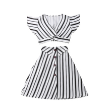 Toddler Baby Girls Summer Striped Clothing Ruffle Crop Tops+A-lined High Waist Skirt Outfit Set Boutique Kids Children Clothes цена