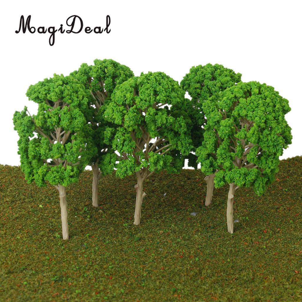 MagiDeal 5Pcs/Lot Train Model Trees For Street Railway Railroad Landscape Park Garden Classroom Decor Building Models Layout