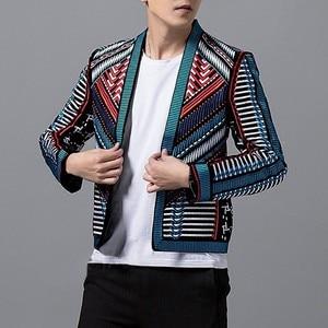 Image 4 - Colorful Embroidery Suit Blazer Masculino Men Blazer Hombre Stage Party Club Designer Slim Jacket Men DJ Host Mens Blazer Jacket