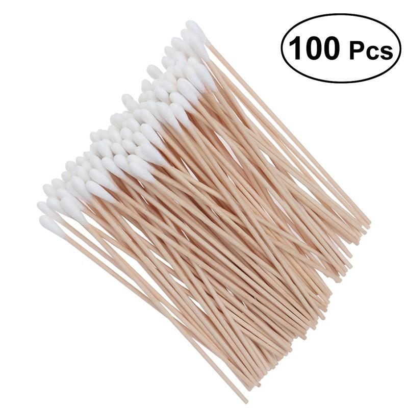 100Pcs Long Wood Handle Cotton Swab Medical Swabs Ear Cleaning Cosmetic Wound Care Cotton Buds Sanitary Round Cotton Tip Swab