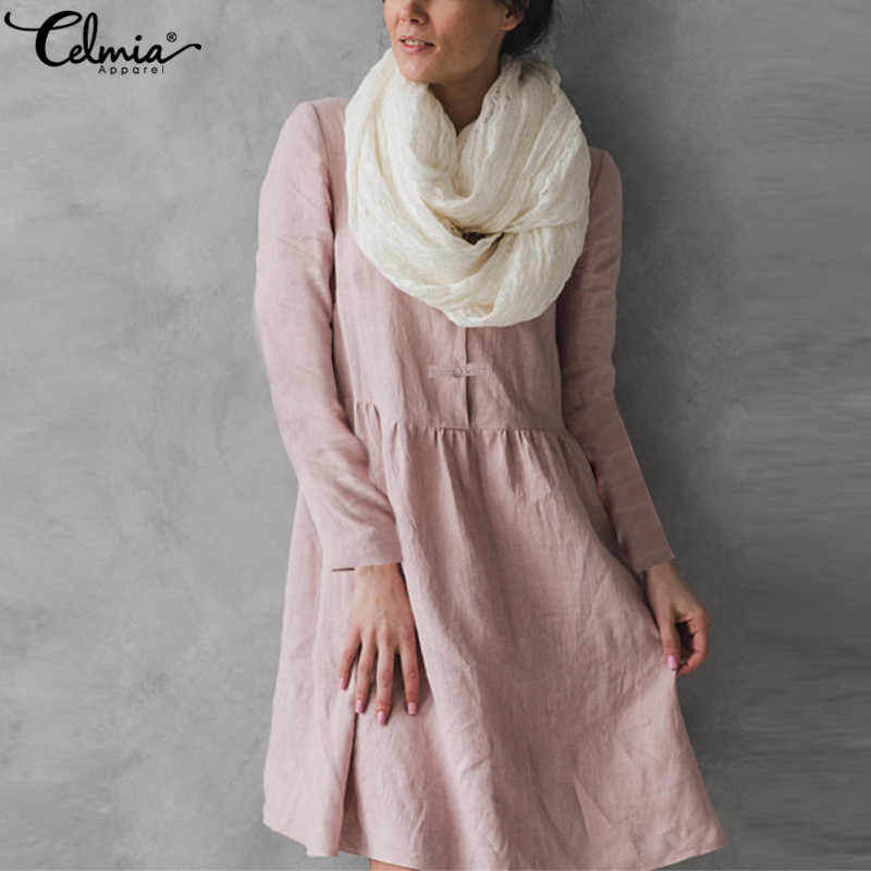 56e7618b3719f Plus Size 2019 Celmia Vintage Linen Pleated Shirt Dress Women Long Sleeve  Button Pockets Solid Casual Party Vestidos Robe 5XL