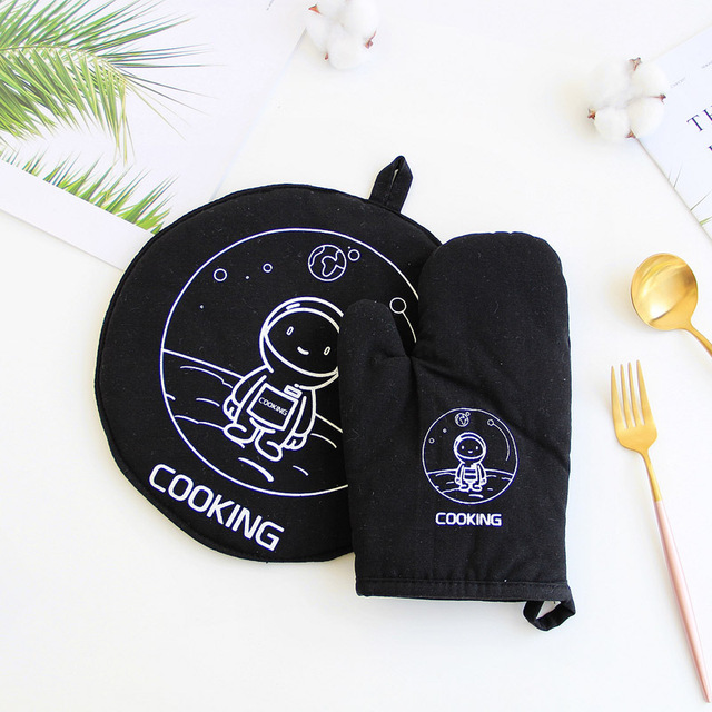 1 Piece Cute Non-slip Yellow Gray Cotton Fashion Nordic Kitchen Cooking microwave gloves baking BBQ potholders Oven mitts 3