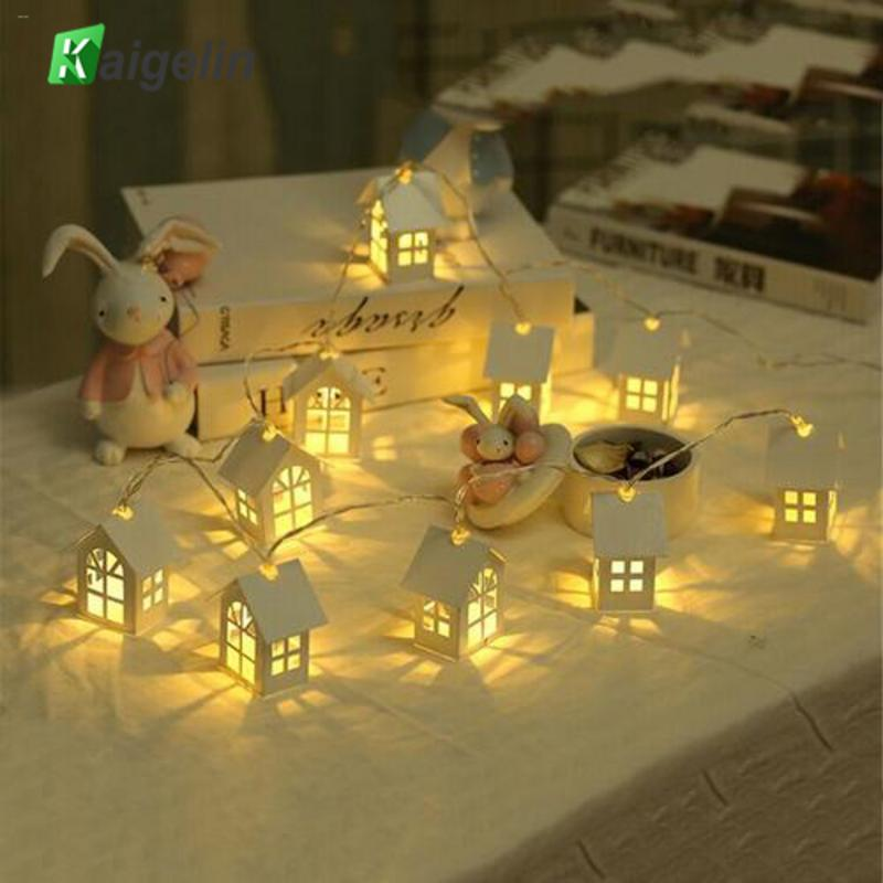 Kaigelin LED Garland Wood House String LED 1.5m 10LED Room Decor String Lamp Wedding Party Holiday Fairy Novelty Night Light