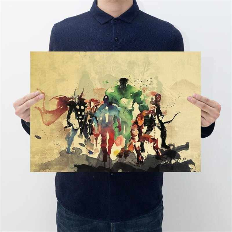 Vintage Avengers Painting Poster Iron Man Room Decoration Stickers Wall Decor Kraft Paper Home Decor Wall Sticker Movie Posters