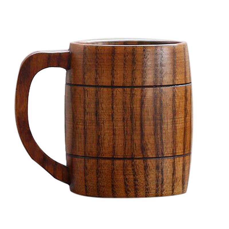 5 шт. качество натурального дерева Кофе кружка Классическая ручной работы деревянная кружка для пива, кофе высокий винный Чай молоко пиво Кубок кружки для напитков 350 мл