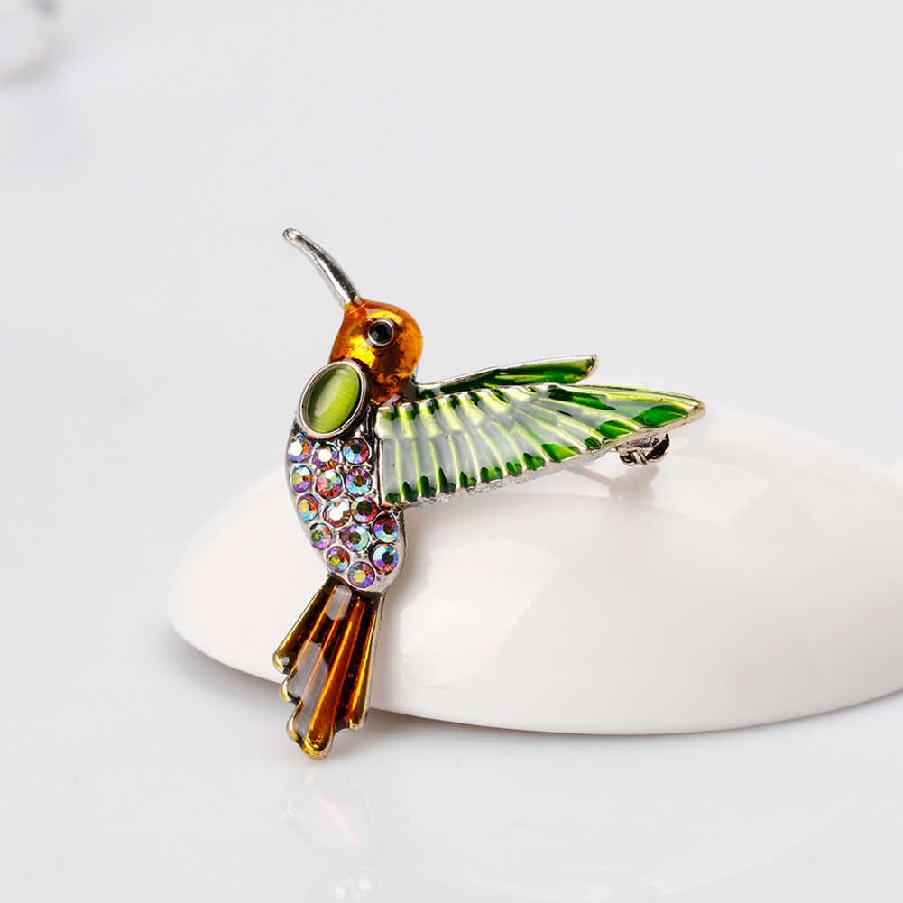 Baru Fashion Gaya Barat Paduan Hummingbird Berlian Imitasi Pin Bros Pakaian Aksesori