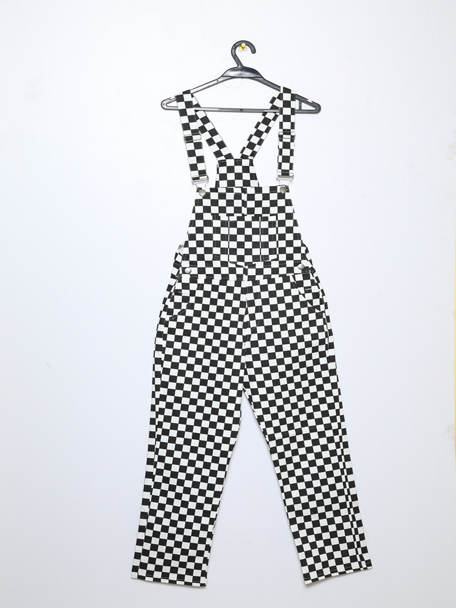 Black White Plaid Mosaic Checkerboard Lattice Overalls Women Men Harajuku Loose Bib Pants New Retro Old School Hip Hop Style
