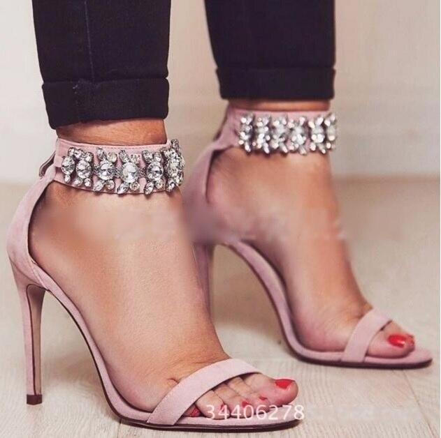 Sandalias Mujeres Tamaño Picture Boda Novia Zapatos Correa Grande Sexy Tobillo Las Y Rosa as De Cuero Tacones As Picture Negro Finos Gamuza Mujer Pcwq0URYw