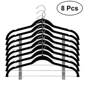 Image 2 - 8 peças de veludo roupas cabides premium antiderrapante cabides com clipes para vestido jaquetas casacos roupas calças
