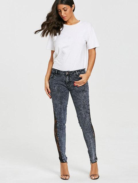 Wipalo Women Plus Size Sheer Lace Side Low Waist Jeans