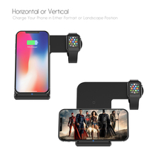 2 in 1 Charging Dock Station Bracket Cradle Stand Holder Qi Wireless Charger For iPhone XS Max XR X 8 For Apple Watch 4 3 2 creative rainbow bridge charging stand bracket for iwatch aluminum alloy arc dock station charging cradle holder for apple watch