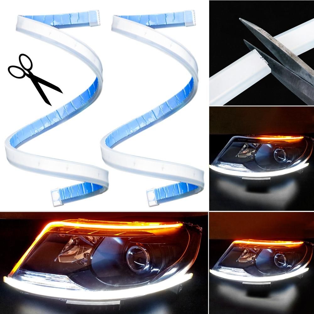 2x LED Car Flexible DRL Daytime Running Strip Light Super Slim Lamp Blue Amber