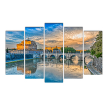 HD 5 piece canvas Bridges Rome Italy Rivers painting posters and prints canvas painting for living room free Free Shipping