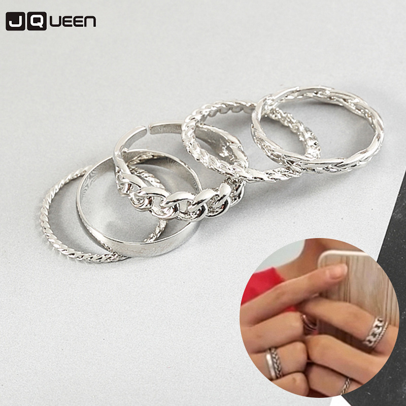 5PCS Fashion Punk Jewelry New Korean Boys Album Rings Set Vintage Chain Bague Finger Rings For Women Men image