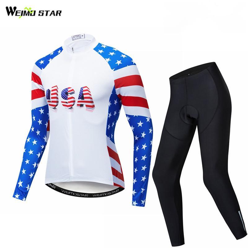 Weimostar USA équipe cyclisme vêtements hommes automne cyclisme Jersey ensemble à manches longues respirant vêtements de vélo VTT maillot costume